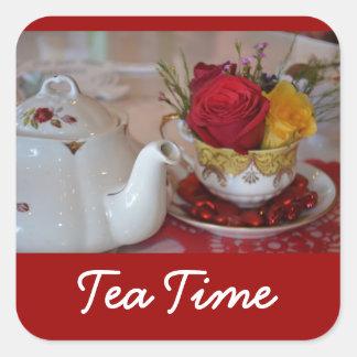 Pegatinas del tiempo del té - cuadrado pegatina cuadrada