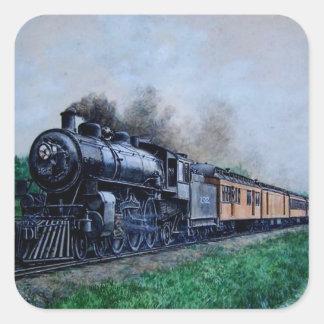 Pegatinas del tren del vapor pegatina cuadrada