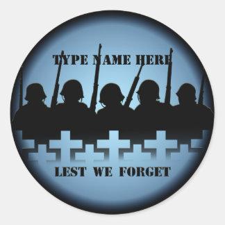 Pegatinas del tributo del soldado a fin de olvidem
