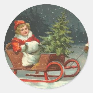 Pegatinas del trineo del navidad del vintage pegatinas redondas