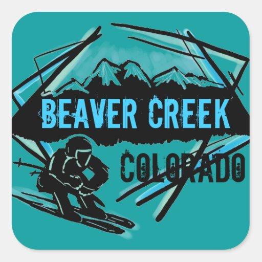 Pegatinas del trullo del esquí de Colorado del Colcomania Cuadrada