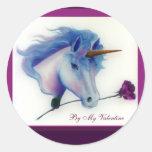 Pegatinas del unicornio de la tarjeta del día de pegatina redonda