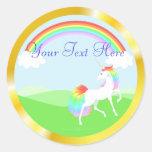 Pegatinas del unicornio del arco iris etiquetas redondas