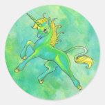 Pegatinas del unicornio del día de St Patrick Etiquetas Redondas