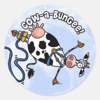 pegatinas del vaca-uno-amortiguador auxiliar pegatina redonda