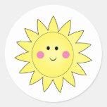 Pegatinas del verano de la sol etiqueta redonda