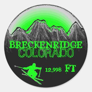Pegatinas del verde del esquí de Breckenridge Pegatina Redonda