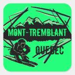 Pegatinas del verde del esquí de Mont Tremblant Colcomanias Cuadradass