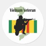 Pegatinas del veterano de Vietnam Etiquetas Redondas