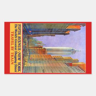 Pegatinas del viaje del vintage de Nueva York los Pegatina Rectangular