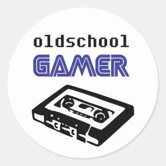 Pegatinas del videojugador de la escuela vieja pegatina redonda
