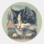 Pegatinas del vintage, gatos etiquetas redondas