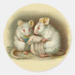 Pegatinas del vintage, ratones etiqueta redonda