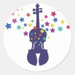 Pegatinas del violín de la estrella del violín etiqueta redonda