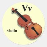 Pegatinas del violín de la letra V