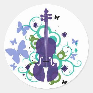 Pegatinas del violín del cielo pegatina redonda