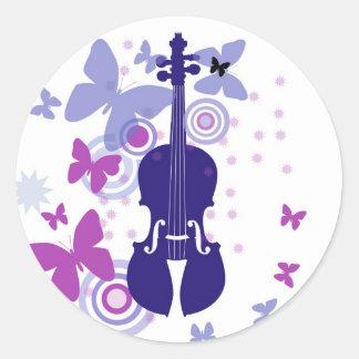 Pegatinas del violín del violín del alboroto pegatina redonda