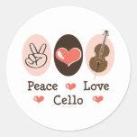 Pegatinas del violoncelo del amor de la paz pegatina redonda