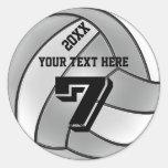 Pegatinas del voleibol con el AÑO, SU NOMBRE, NÚME Etiqueta Redonda