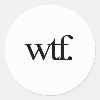 pegatinas del wtf etiqueta redonda