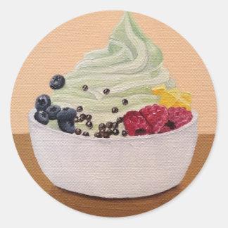 Pegatinas del yogurt congelado pegatina redonda