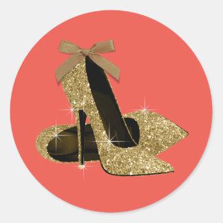 Pegatinas del zapato del oro y del tacón alto del pegatina redonda