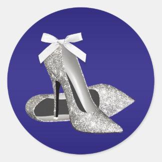 Pegatinas del zapato del tacón alto de la plata etiquetas redondas