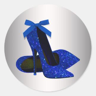 Pegatinas del zapato del tacón alto de la plata etiqueta redonda