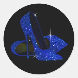 Pegatinas del zapato del tacón alto de la plata pegatinas redondas