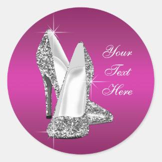 Pegatinas del zapato del tacón alto de las rosas etiquetas redondas