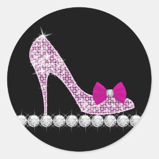 Pegatinas del zapato del tacón alto de las rosas pegatina redonda