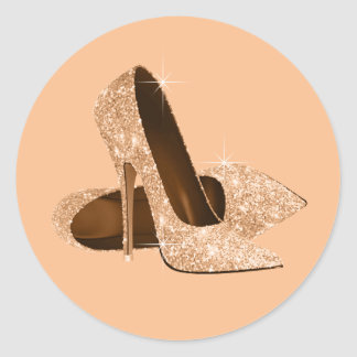 Pegatinas del zapato del tacón alto del melocotón etiqueta redonda