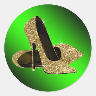 Pegatinas del zapato del tacón alto del verde y pegatina redonda