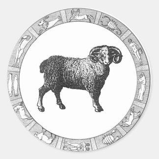 Pegatinas del zodiaco del aries pegatinas redondas