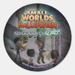 Pegatinas del zombi de SmallWorlds Halloween Etiqueta Redonda