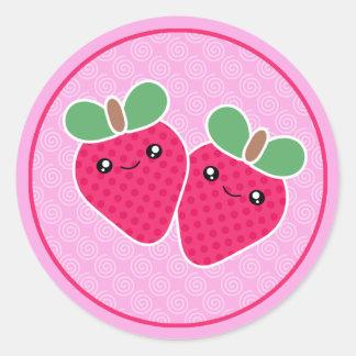 Pegatinas deliciosos de Kawaii de la fresa de las
