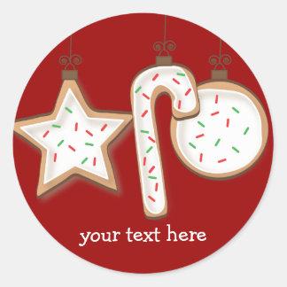 Pegatinas deliciosos de la galleta del navidad pegatinas redondas