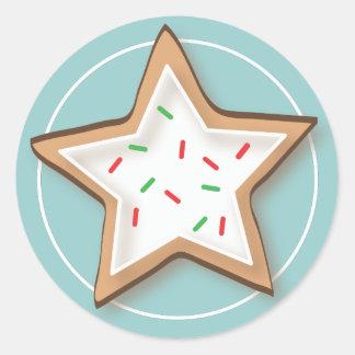 Pegatinas deliciosos de la galleta del navidad pegatina redonda