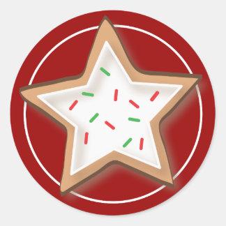 Pegatinas deliciosos de la galleta del navidad etiquetas redondas