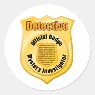 Pegatinas detectives de la insignia pegatina redonda