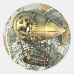 Pegatinas dirigibles del viaje del aire pegatina redonda
