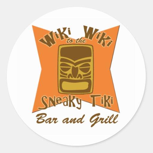 Pegatinas disimulados del bar y grill de Tiki Pegatina Redonda