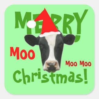 Pegatinas divertidos de la vaca de las Felices Nav