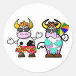 Pegatinas divertidos de los pares de la vaca de la etiquetas redondas