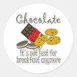 Pegatinas divertidos del desayuno del chocolate pegatinas redondas
