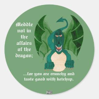 Pegatinas divertidos del dragón pegatina redonda