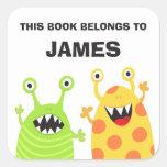 Pegatinas divertidos del libro de los bookplates d pegatinas cuadradas personalizadas