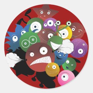 Pegatinas divertidos del monstruo pegatina redonda