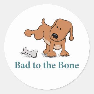 Pegatinas divertidos del perro: Malo al hueso Etiquetas Redondas