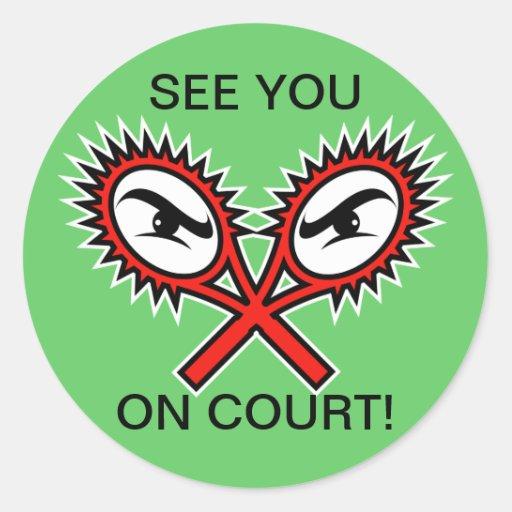 Pegatinas divertidos del tenis con decir chistoso pegatina redonda